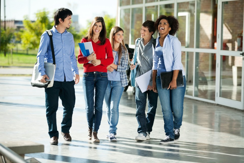 Cheerful Students Walking On Campus