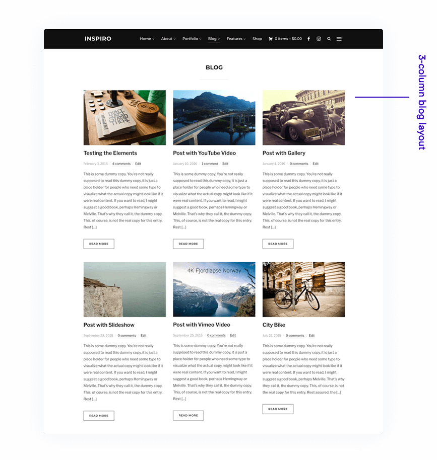 3-column Blog Layout